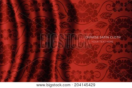 Traditional Red Chinese Silk Satin Fabric Cloth Background Garden Curve Spiral Vine Flower