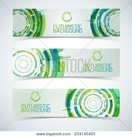 Modern virtual technology three isolated horizontal banners set with green futuristic circles touchable illustration title and shadows vector illustration