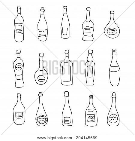 A collection of a differently shaped bottles of spirits