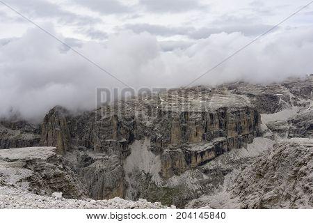 View from the summit of Sass Pordoi. Dolomites. Italy.