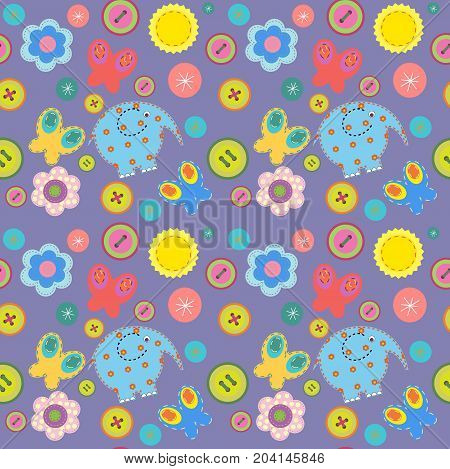 Cute Seamless Pattern In A Children's Style