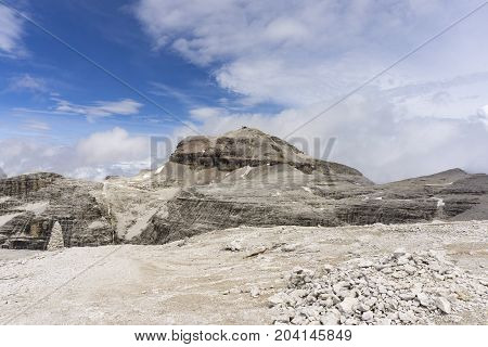 Rocky landscape of the Dolomites. View of the Piz Boe.