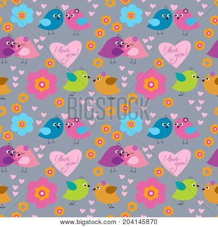 Cute seamless pattern with a birds on the day of Saint Valentine