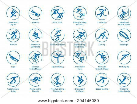 Winter sports icons set vector pictograms for web print and other projects. All olympic species of events