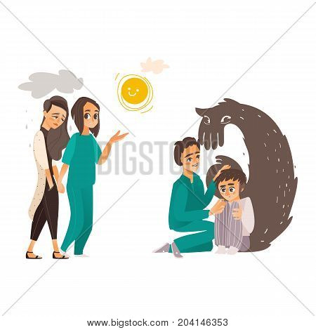vector falt mental patients set. Female doctor showing sun to woman suffering from depression, psychiatrist calming down man suffering from anxiety, fear. Isolated illustration on a white background.