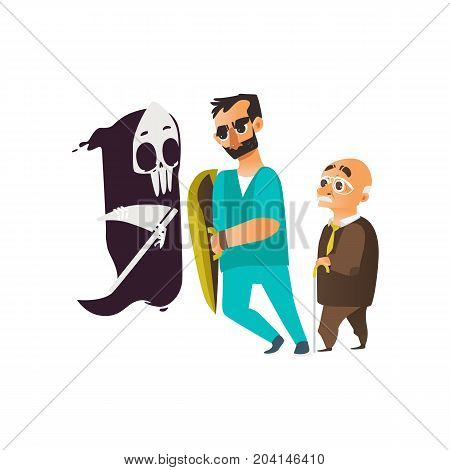 vector flat cartoon male doctor in glasses holding shield protecting male elder grey-haired patient from mental illness - fear of death. Isolated illustration on a white background