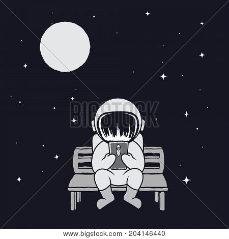 Cute astronaut play on smartphone.Spaceman sits on bench and see to mobile phone.Prints vector design.Childish illustration