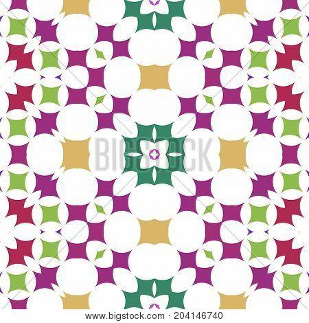 Seamless ornate pattern in purple green ocher spectrum