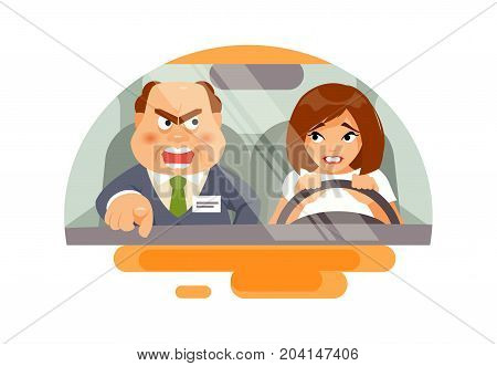 Beginner woman driver panicked and angry instructor. Training in a driving school. Vector humorous illustration