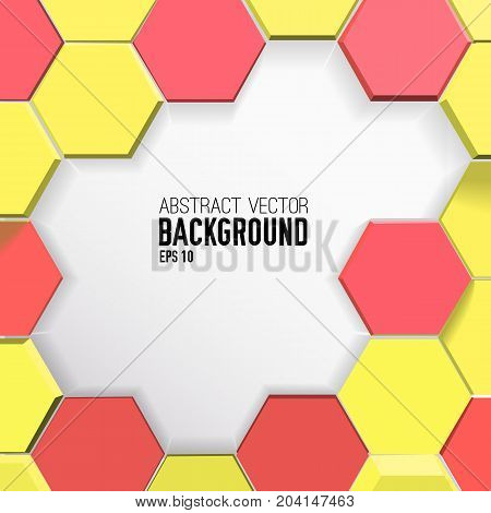 Colorful geometric background with yellow and red 3d hexagons in mosaic style vector illustration