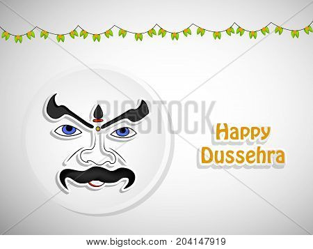 illustration of evil face and decoration with Happy Dussehra text on the occasion of hindu festival Dussehra