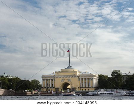 9TH SEPTEMBER 2012, SAINT PETERSBURG, RUSSIA - Admiralty Embankment. The Admiralty building in St. Petersburg Russia