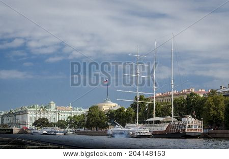 9TH SEPTEMBER 2012, SAINT PETERSBURG, RUSSIA - Admiralty Embankment and ships in St. Petersburg Russia