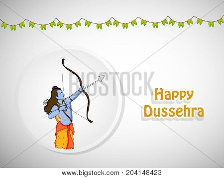 illustration of hindu god Ram and decoration with Happy Dussehra text on the occasion of hindu festival Dussehra