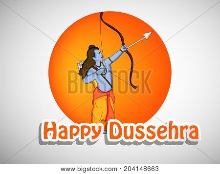 illustration of hindu god Ram with Happy Dussehra text on the occasion of hindu festival Dussehra