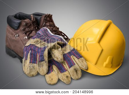 Yellow boots helmet head wear color objects background