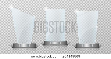 Empty Crystal glass trophy awards set. Glossy transparent trophy for award on transparent background. Vecror illustration EPS 10