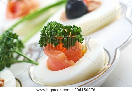 stuffed eggs with salmon  , close up traditional meal