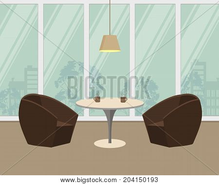 Table and two armchairs on a window background. There are also cups with a hot drink on the table and a lamp in the picture. Vector illustration.