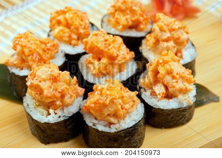 Japanese sushi . traditional japanese food  , close up traditional meal