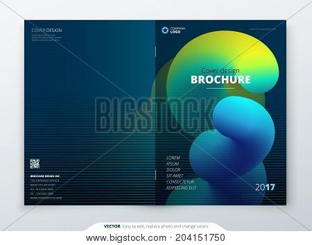 Liquid Brochure Cover. Template for brochure, catalog, report, poster, catalog, magazine, flyer etc. Modern liquid or fluid abstract background.