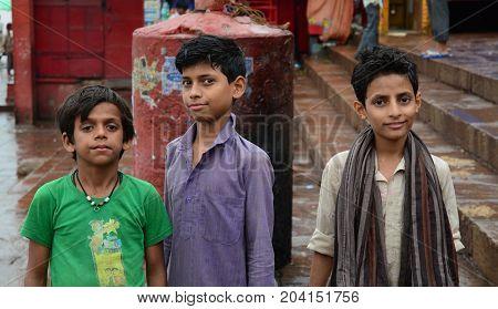 Children On Street In Varanasi, India
