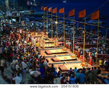 Fire Ceremony On Riverbank In Varanasi, India