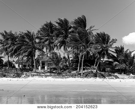House Ruin Island In B&w
