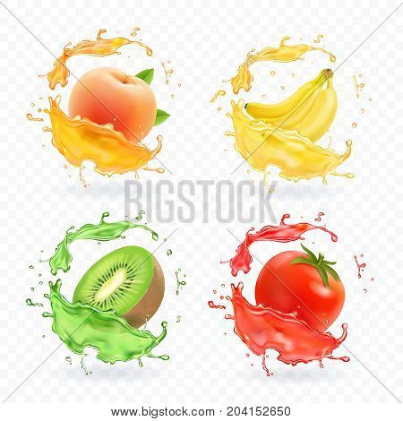 Kiwi fruit, banana, tomato, peach apricot juice. Realistic fresh splashes vector fruits icon set.