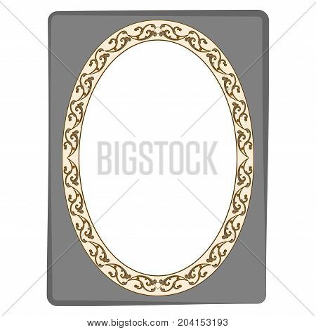 Frame oval of twig in rectangle card. Fashion graphic background. Modern stylish abstract texture. Colorful template for prints textiles wrapping wallpaper. Design flat element. Vector illustration