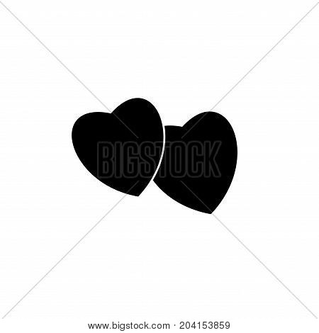 Heart two black sign. Icon on white background. Romantic symbol linked join love passion and wedding. Template for t shirt card poster. Design flat element of valentine day. Vector illustration