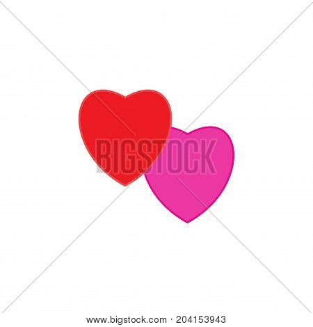 Heart two card. Red sign on white background. Romantic symbol linked join love passion and wedding. Template for t shirt apparel card poster. Design element of valentine day. Vector illustration