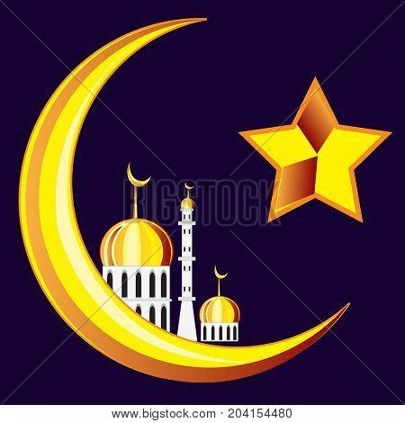 Symbol of the islam on black.Vector illustration