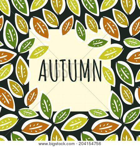 Contrast autumn frame with colorful hand drawn leaves on black background for text or photo. Cute leaf frame for fall offers advertisement sale