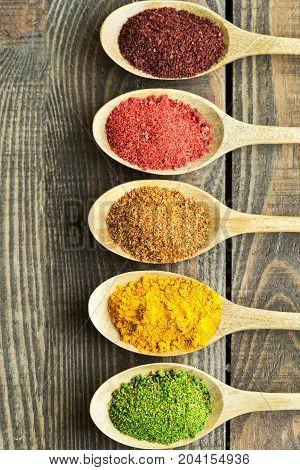 Various spices table background copy space closeup