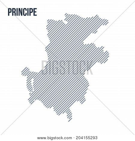 Vector Abstract Hatched Map Of Principe With Oblique Lines Isolated On A White Background.