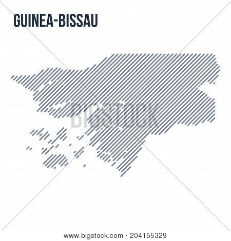 Vector Abstract Hatched Map Of Guinea Bissau With Oblique Lines Isolated On A White Background.