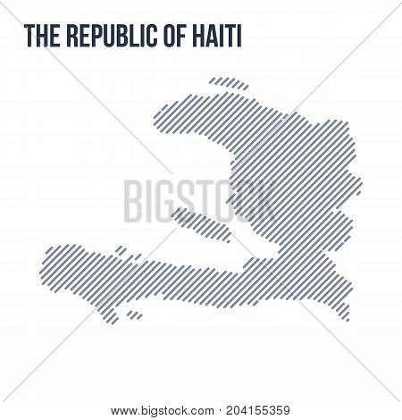 Vector Abstract Hatched Map Of The Republic Of Haiti With Oblique Lines Isolated On A White Backgrou