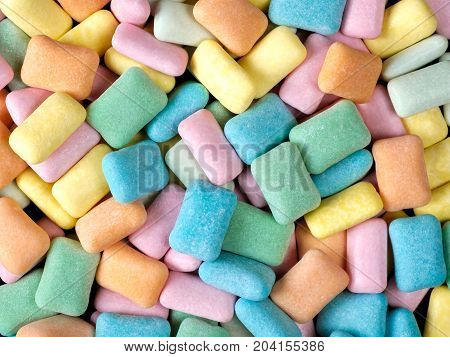 Abstract close up colorful chewing gum background