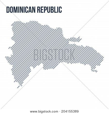 Vector Abstract Hatched Map Of Dominican Republic With Oblique Lines Isolated On A White Background.
