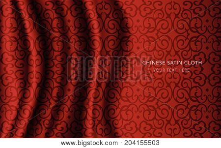 Traditional Red Chinese Silk Satin Fabric Cloth Background Round Spiral Cross Chain Vine