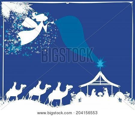 Christmas religious nativity scene , vector illustration