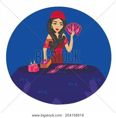 The Fortuneteller woman card , vector illustration