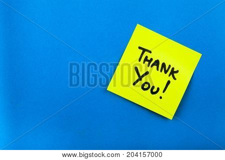 Yellow paper note sticker thank you color white