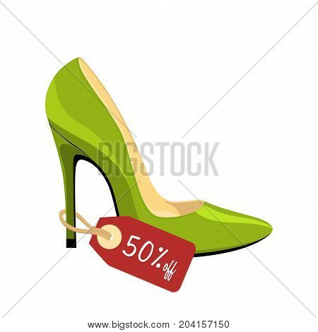 Stiletto shoe with price tag 50% off isolated on white background