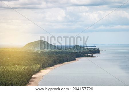 The Mountain With Forest And Beach Curve Beside Sea,landscape