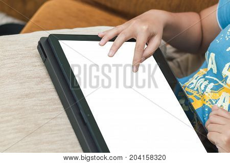 Close Up Woman Hand Touching White Screen On Laptop Monitor