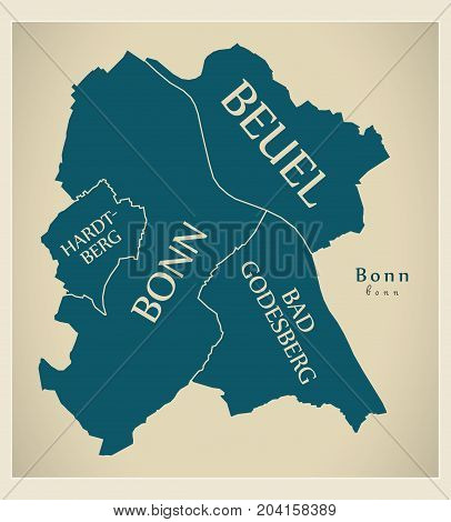 Modern City Map - Bonn City Of Germany With Boroughs And Titles De