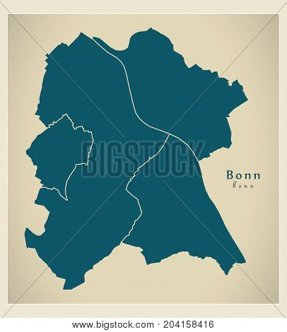 Modern City Map - Bonn City Of Germany With Boroughs De