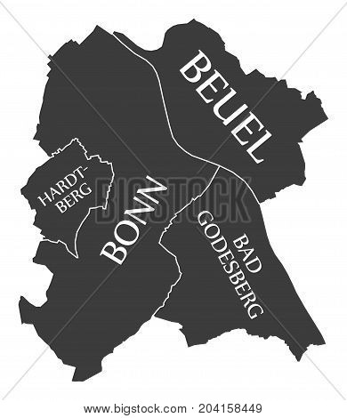 Bonn City Map Germany De Labelled Black Illustration